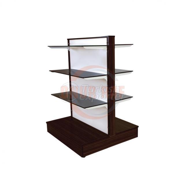 Wood Unit Double Glass Shelf