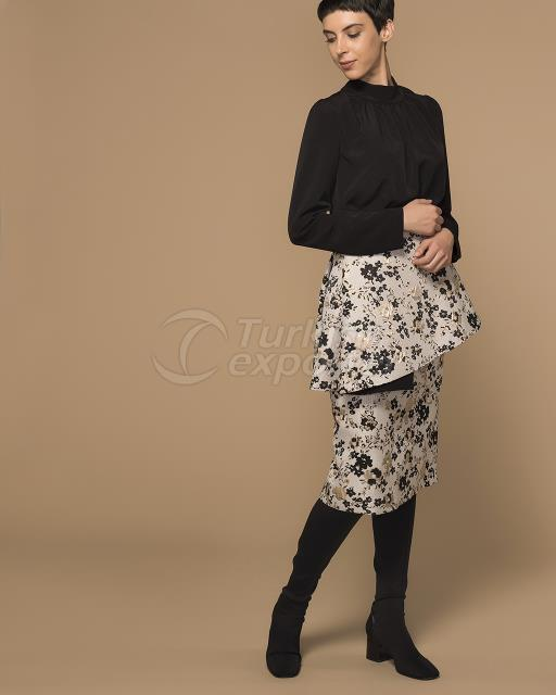 Jacquard Skirt with Peplun Detail