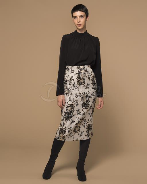 Detailed jacquard skirt with zipper