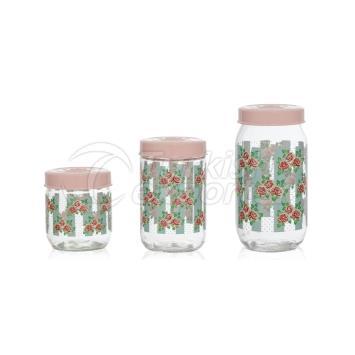 3 pcs Decorated Jar Set