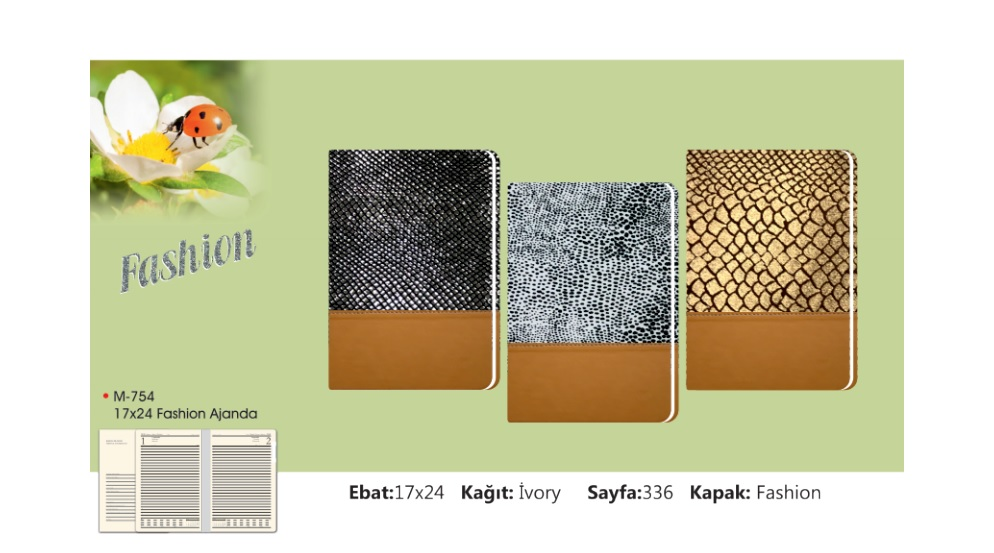 M-754 Fashion Cotton / Thermo Leather Combined Diary