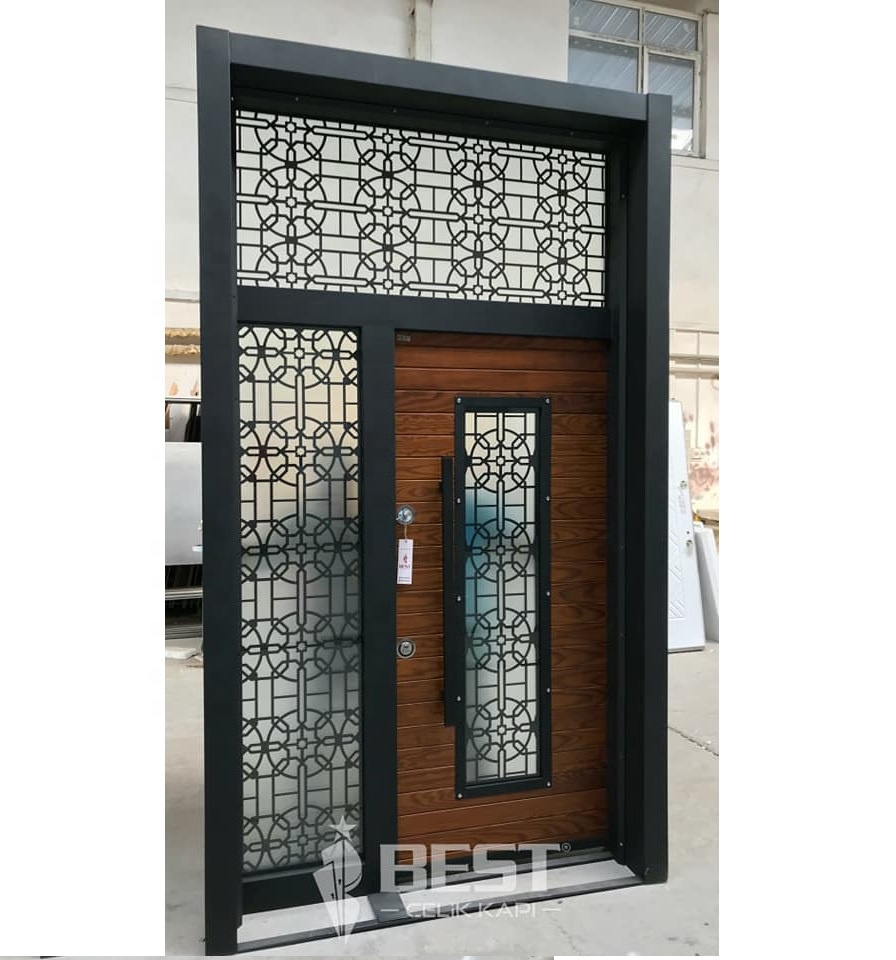 Steel Door resistant to external climate-Decorative Glass Villa Door