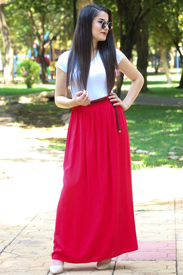 Viscose Lined Red Skirt With Belt