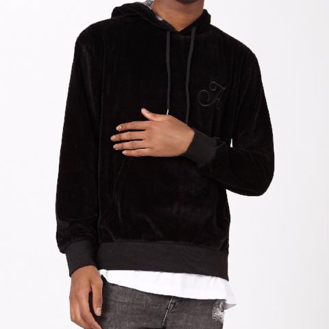 Diablo Pullover Velour Hood – Black