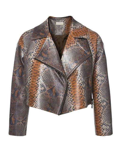 Artificial Leather Short Jacket