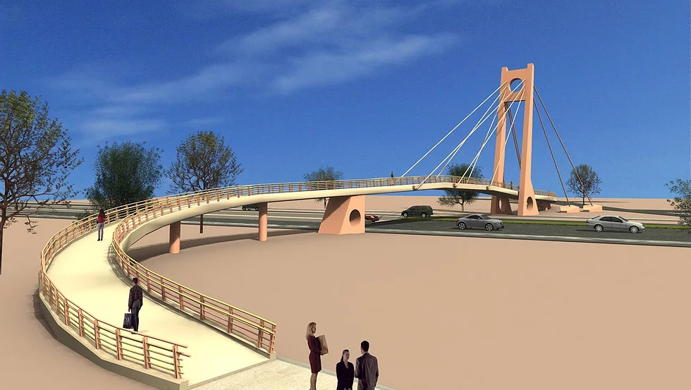 Cable-stayed pedestrian overpass