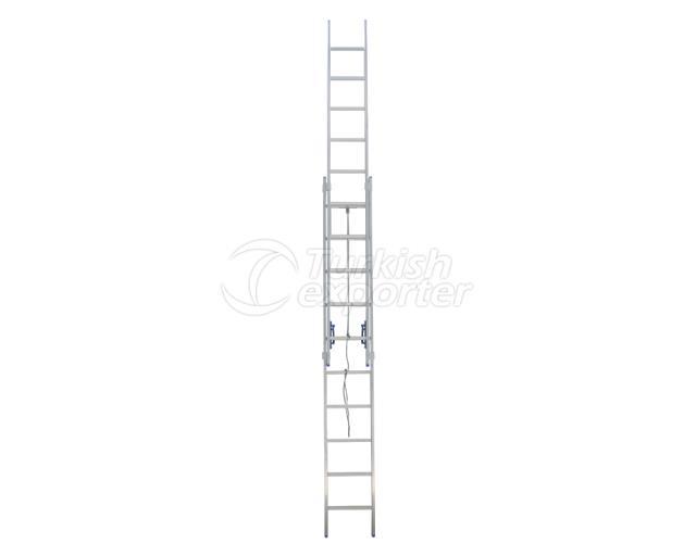 2 Aşamalı İpli Makaralı Sürgülü Alüminyum Endüstriyel Merdiven