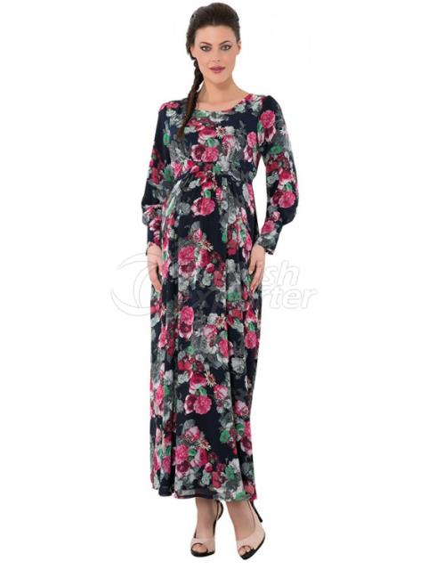 Patterned Dress Maternity Wear Hijab
