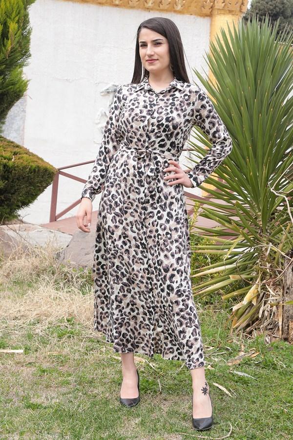 Leopard Pattern Belt Dress