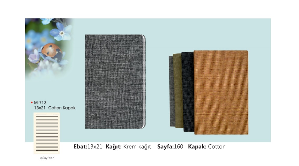 M-713 Cotton Covered Notebook