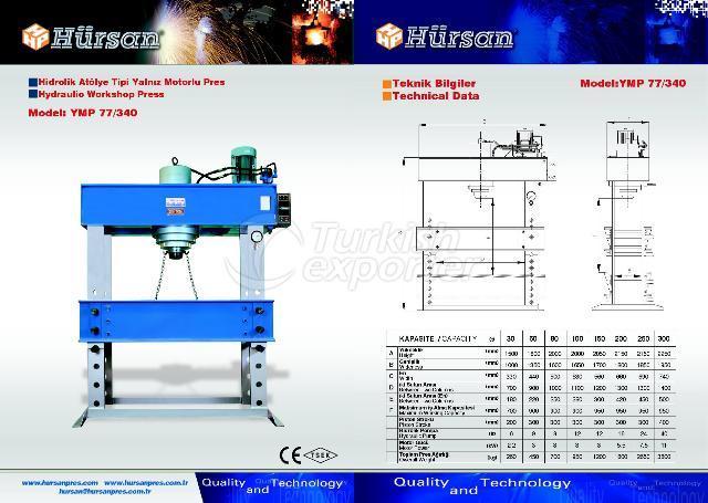 Hydraulic Workshop Type Press With Singular Motor