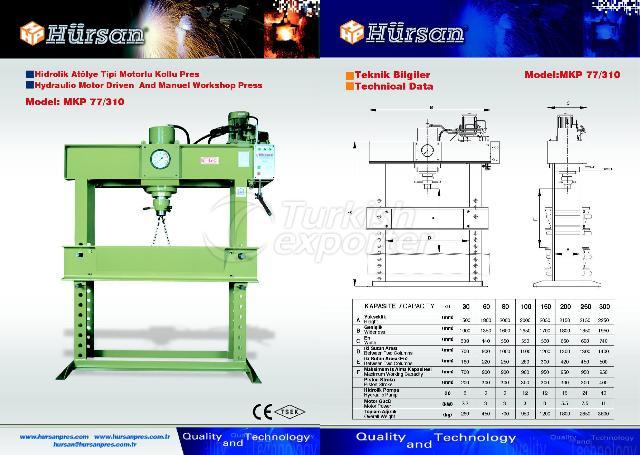 Hydraulic Motor Driven And Manuel Workshop Type Press