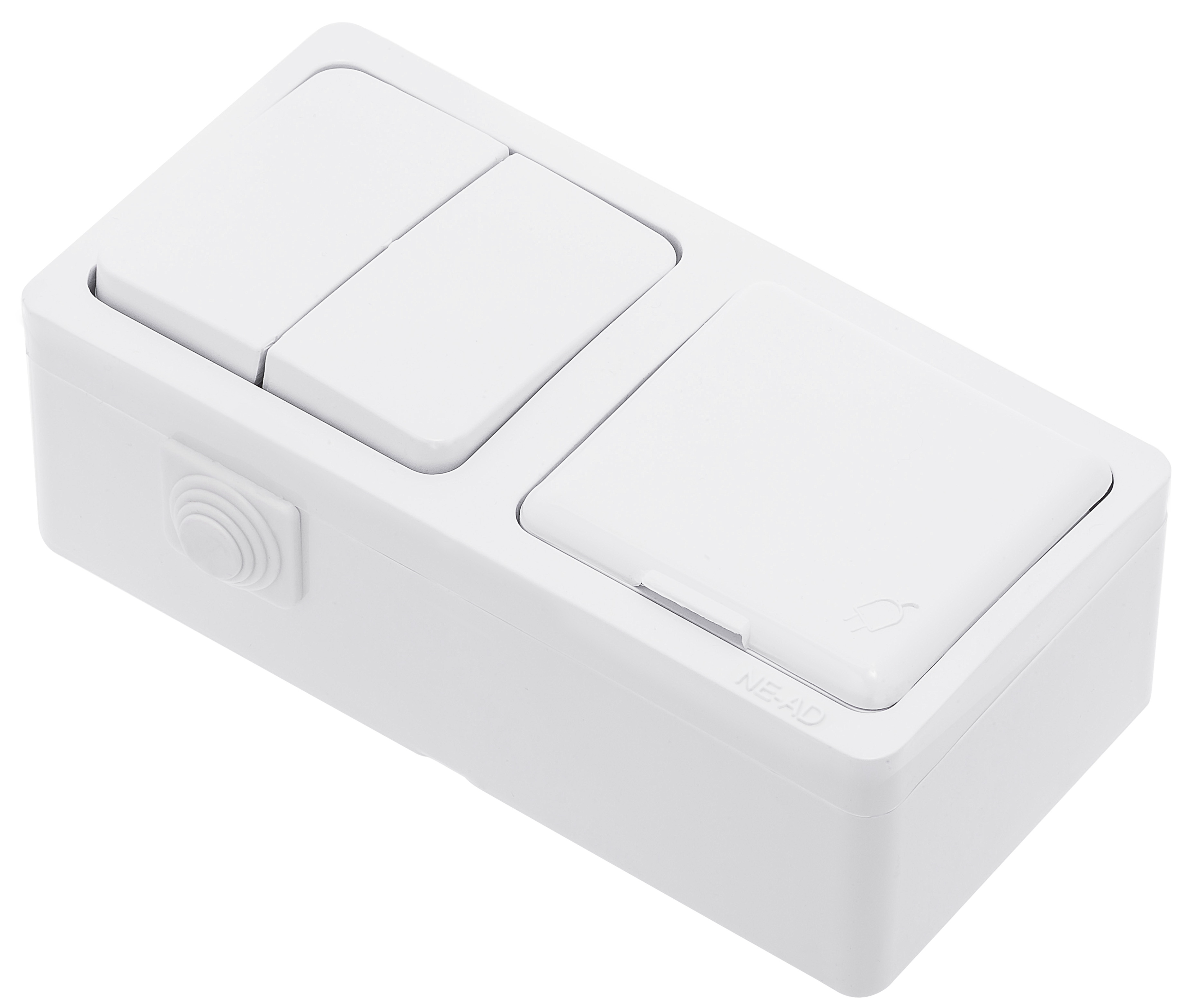 Two Gang One Way Switch + Socket 2P+E With Lid / 95-03-09