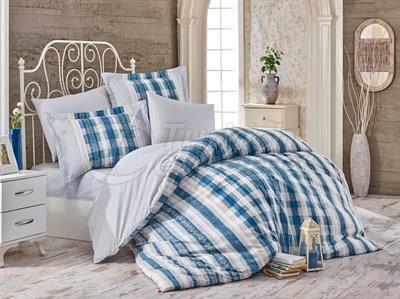 Debora Blue - Poplin Single Bed Linen Set (8698499130302)