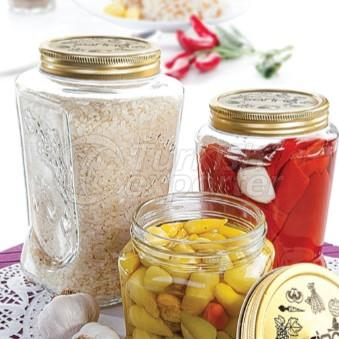 Glassware jar with metal lid