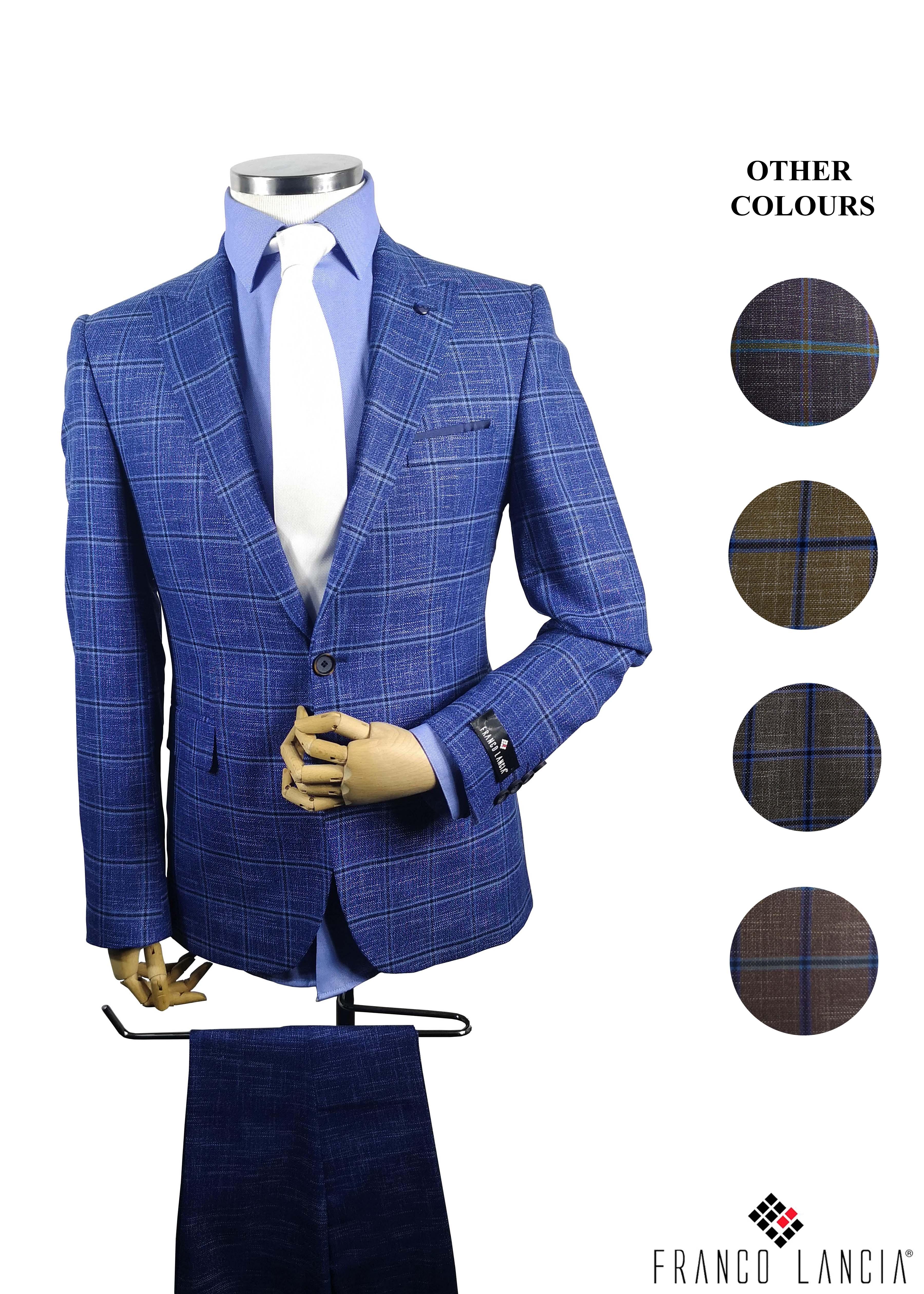2 Piece Plaid SlimFit Suit Model and Colors