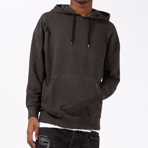 Oil Wash Distressed Pullover Hoody