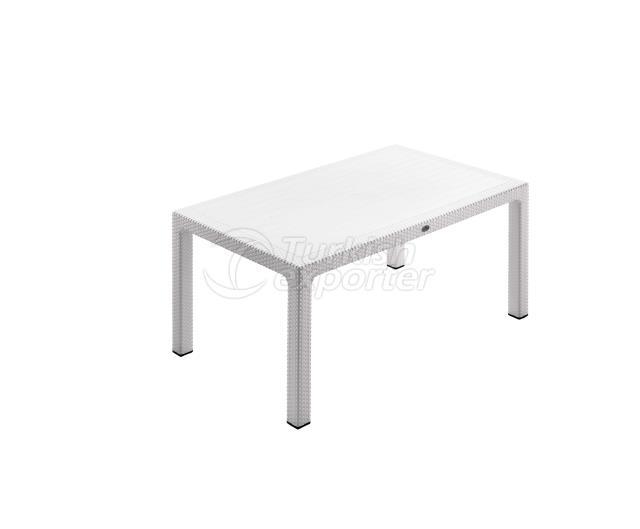 Classi Rattan 90x150 Table Blanc