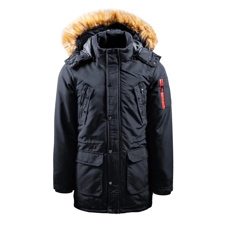 Men's Winter Long Jacket with Fake Fur on Collar