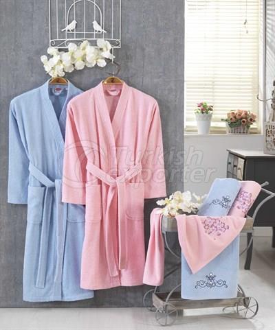 Smart Cotton Bathrobe Set - Pink Blue (8698499308268)