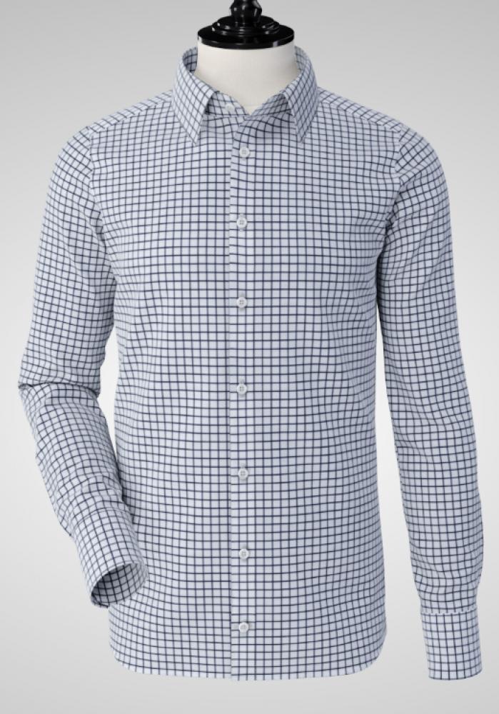 Men Shirt - Navy Checkered