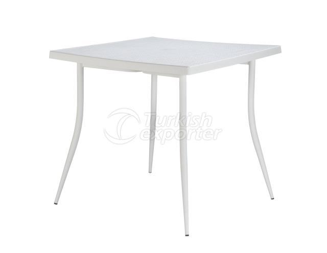 Carmen Rattan Table 80x80 Blanco