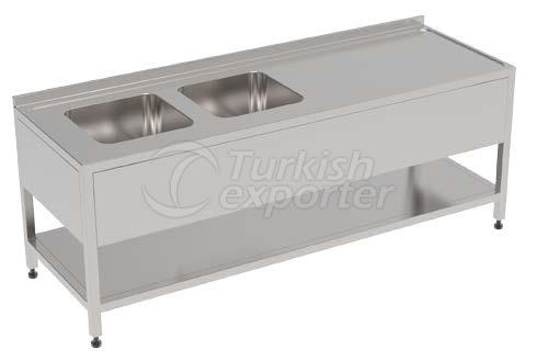 WORKING BENCH WITH DOUBLE SINK