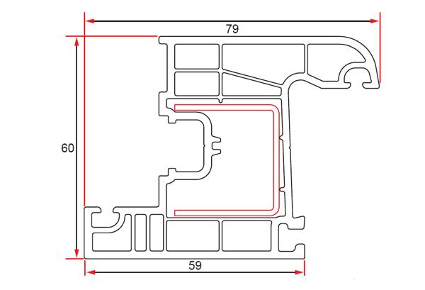 60 mm Window Sash Profile with 4 Chambers