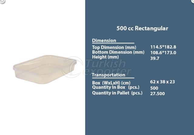 Rectangular Plastic Container 500 cc