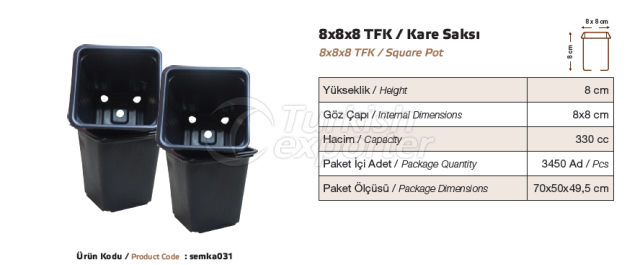 Pot carré 8x8x8