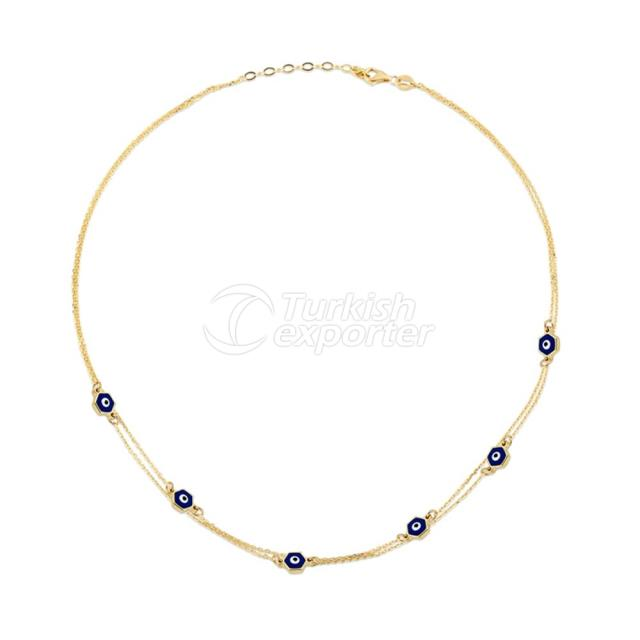 Evil Eye Beaded Gold Necklace