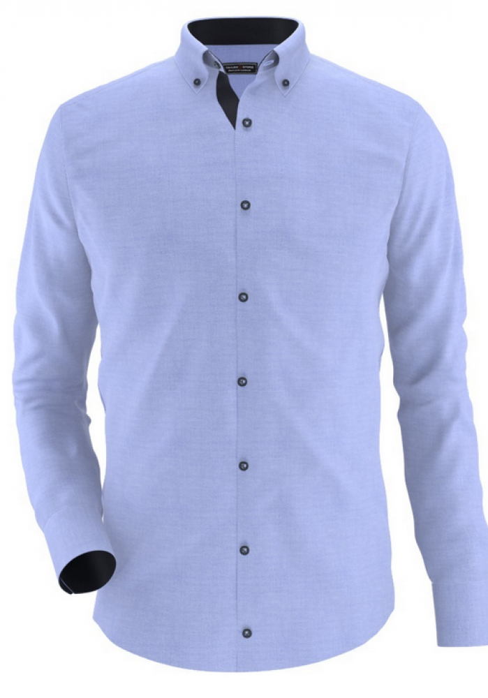 Men Shirt - Navy Blue Garnish Blue Oxford