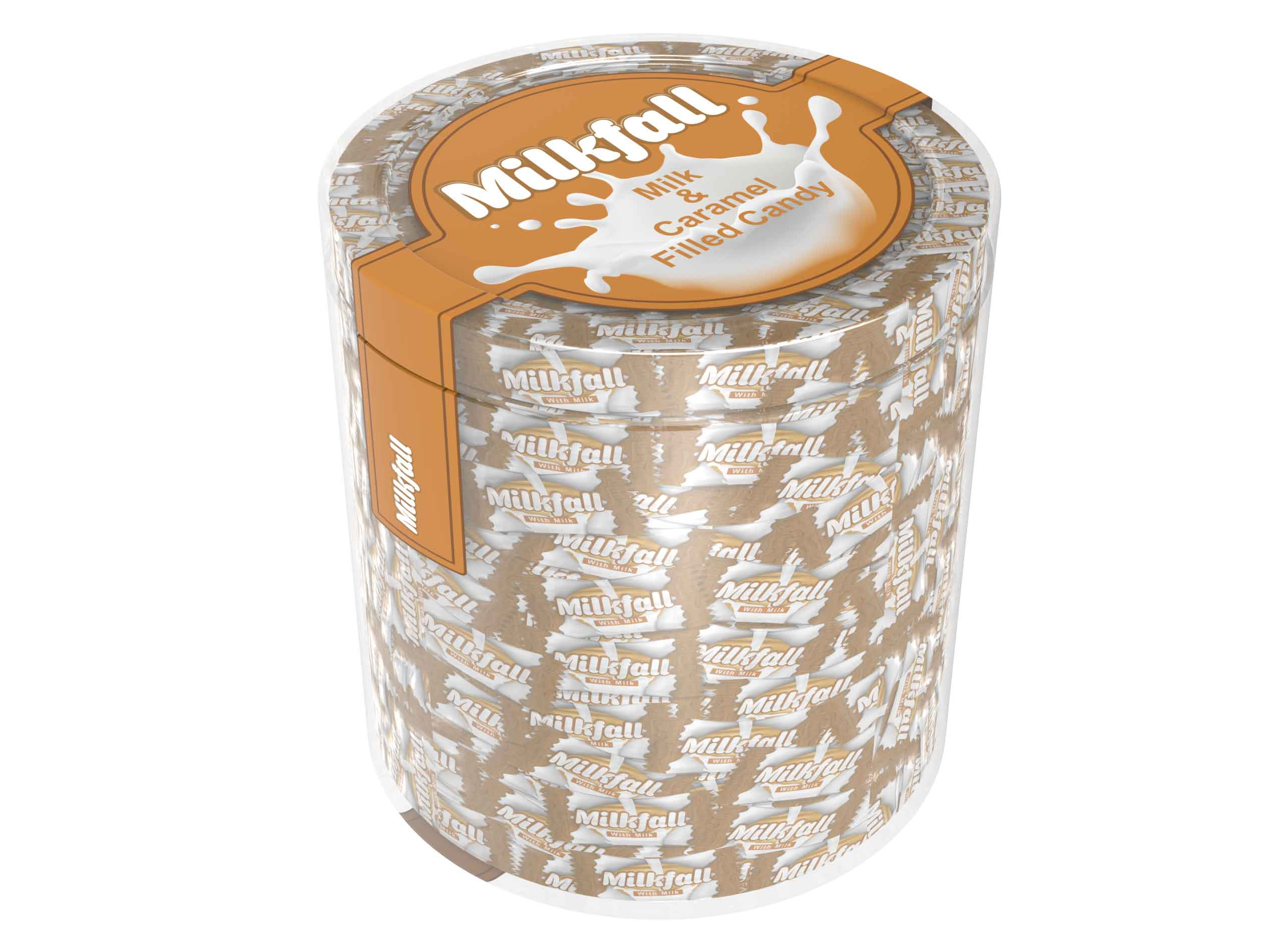 Milkfall - Milk&Caramel Filled Hard Candy PVC - 1000 gr.