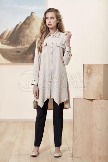 Sequin Boyfriend Shirt 3128 Beige
