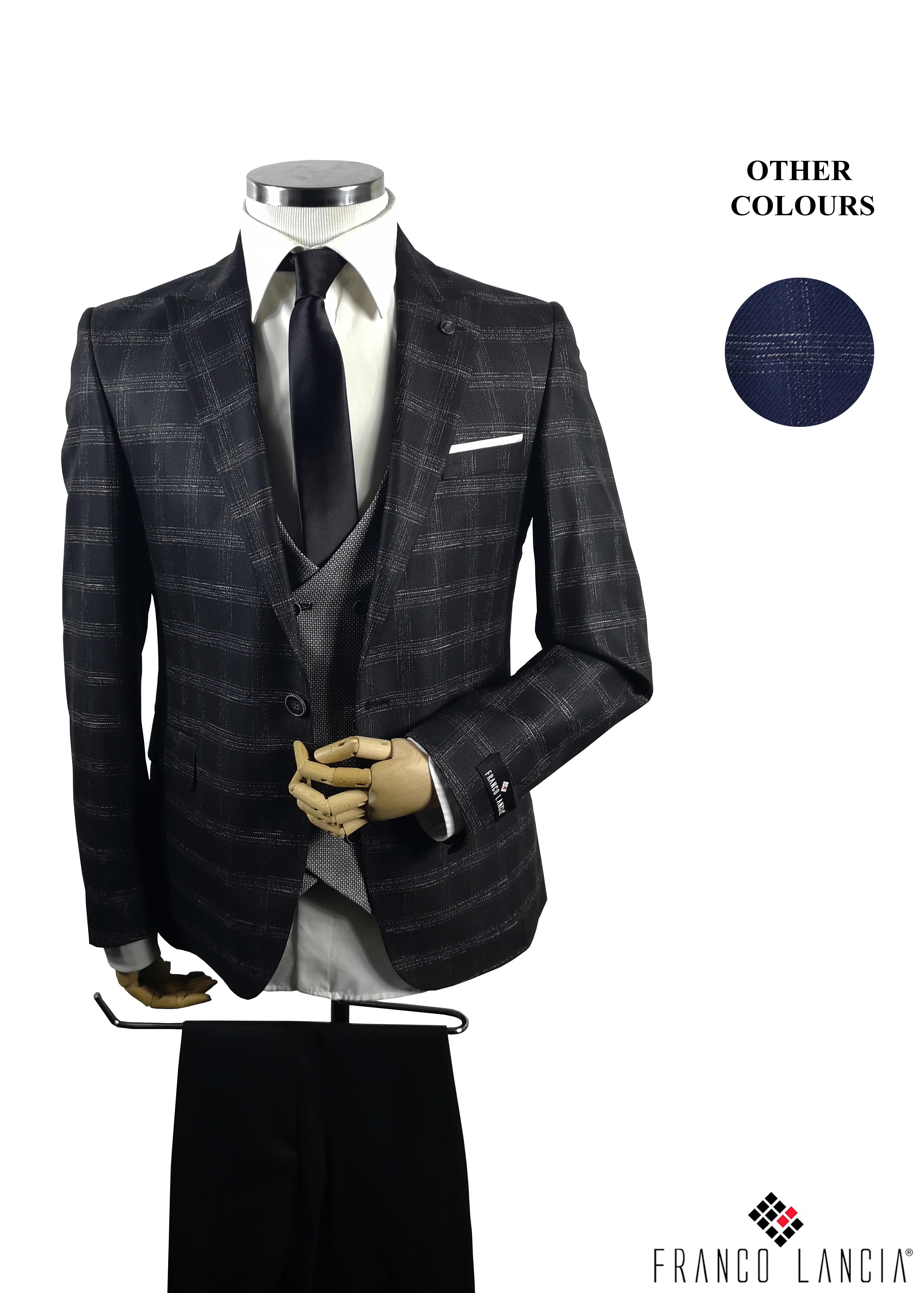 3 Piece Plaid Combin Suit Model and Color