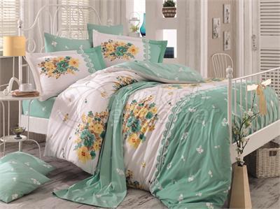 Alvis Sea Green - مجموعة بياضات سرير مفرد من بوبلين (98017400222)