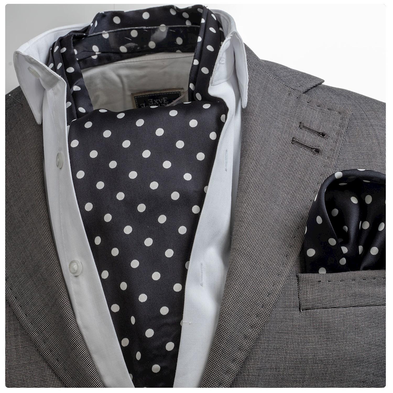 Black White Polka Cravat Set