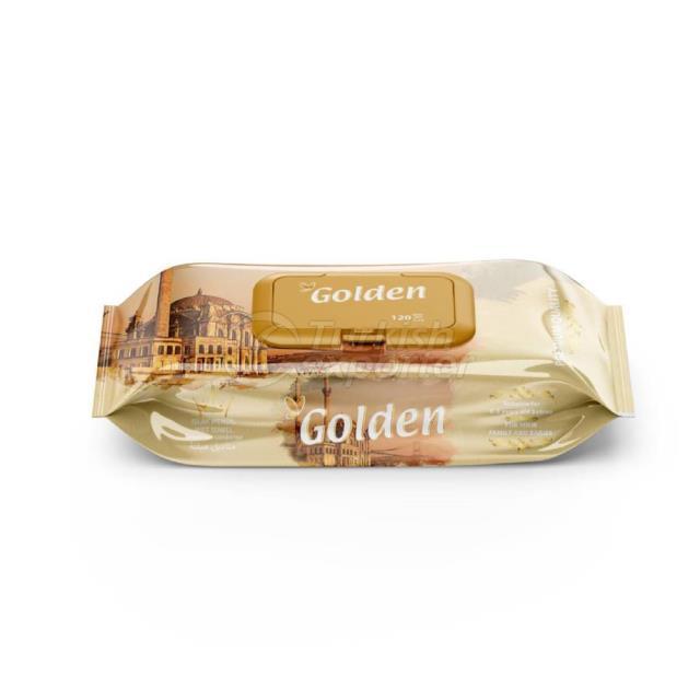 منشفة مبللة ذهبية