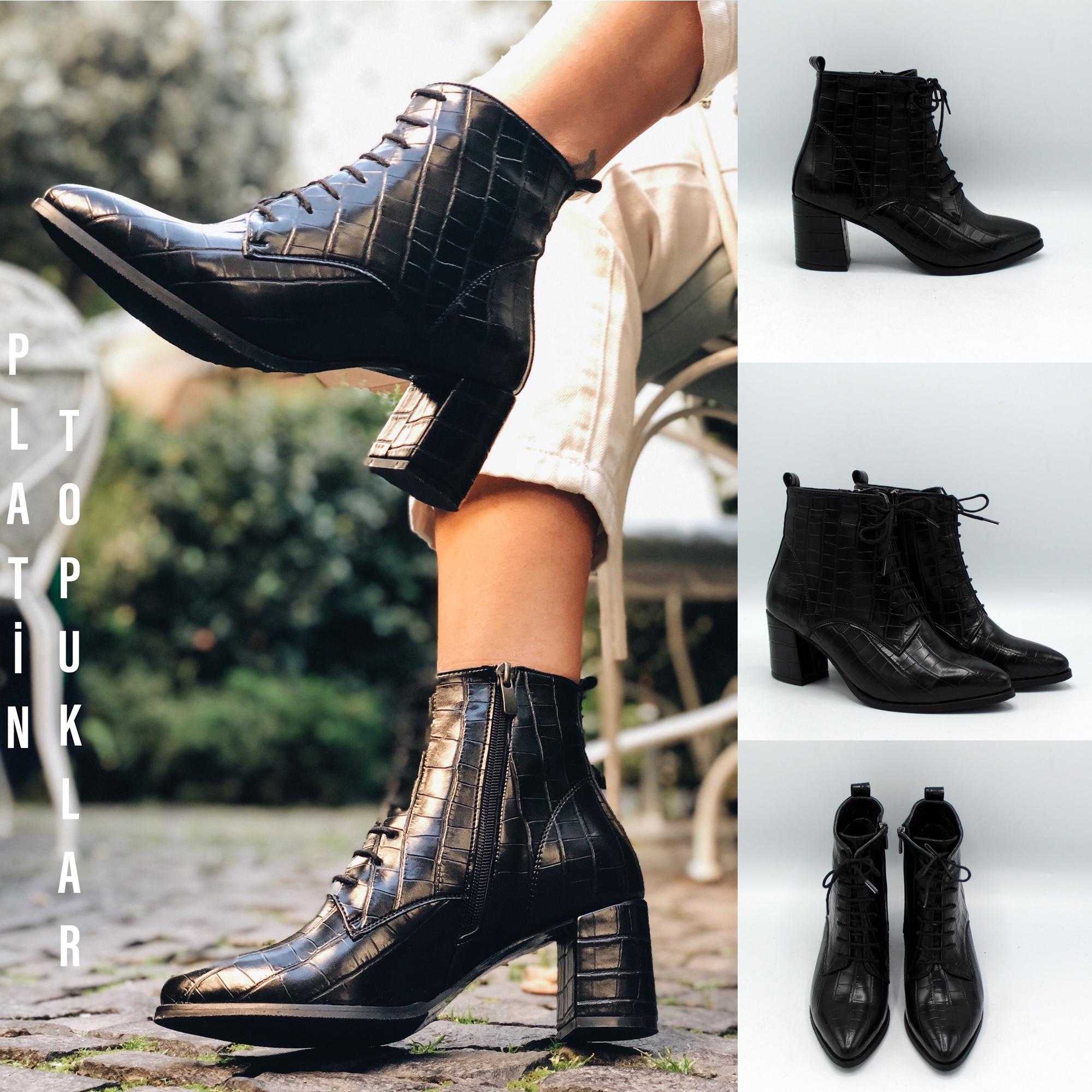 High Heel Women Stylish Crocodile Boots Trend Footwear