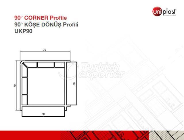 Perfil de esquina de 90 ° UKP90