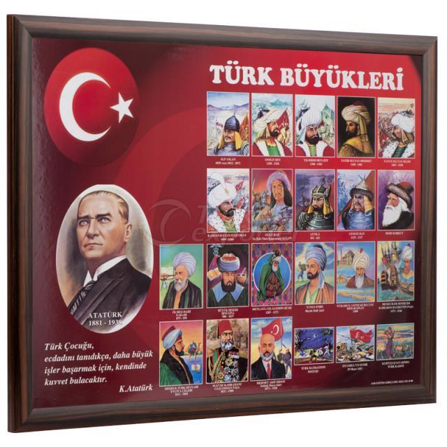 Ahşap Çerçeve Türk Büyükleri Eğitim Panosu