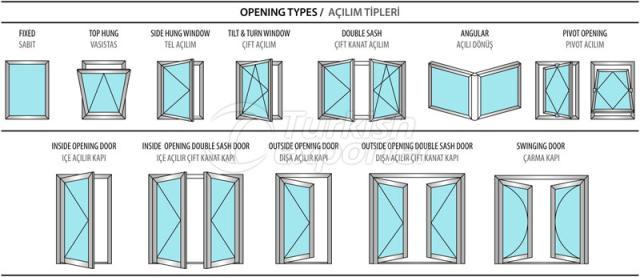 Janelas de portas de alumínio 40C