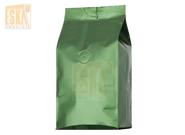 Green Aluminium Side Gusseted Bag with Valve
