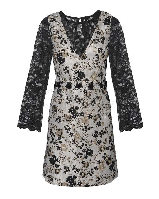 Lace Blouse Jacquard Dress