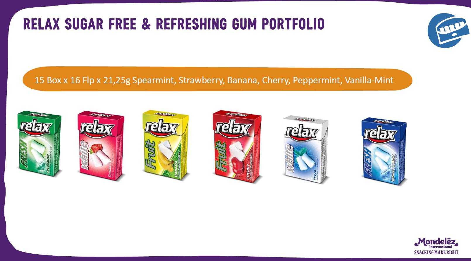 RELAX-SUGAR FREE & REFRESHING GUM PORTFOLIO 21,25 GR