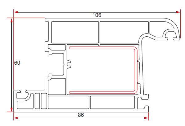 60 mm Door Wing Profile