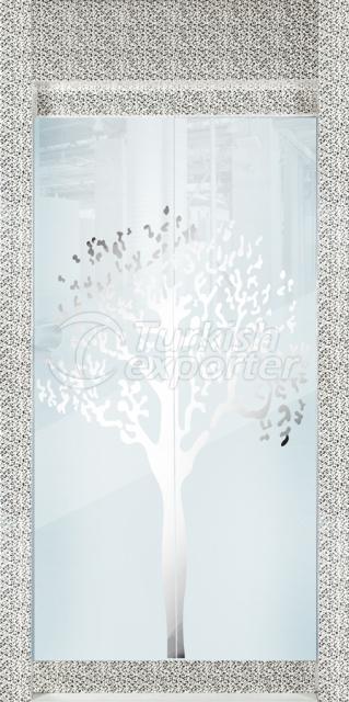 Plano de porta de vidro emoldurado