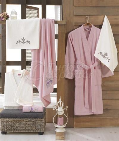Smart Cotton Bathrobe Set - Powder - Cream (8698499306875)