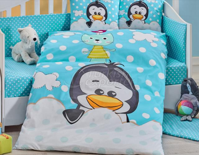 Pinguim azul - conjunto de roupa de cama de bebê (8698499129351)