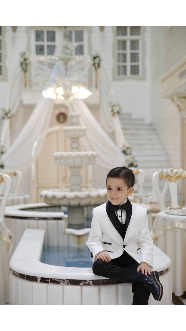 Shawl Neck White Kids Suit